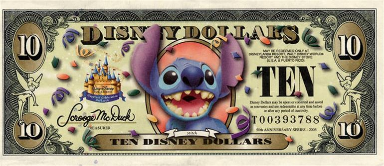 Walt Disney, theme park money, Disney Dollars