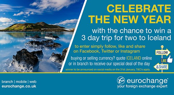 Win a trip to Iceland with eurochange